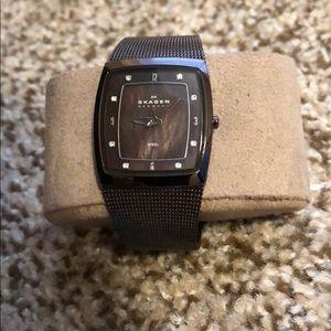 Skagen women's brown metal watch